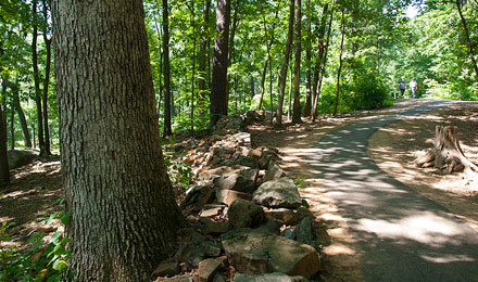 View of a walking path at Gettysburg National Park