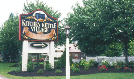 View of the Kitchen Kettle Village Sign